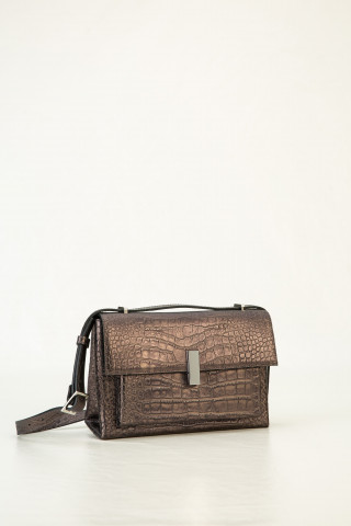 Small leather bag with exotic print
