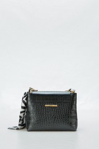 Black bag with decorative scarf