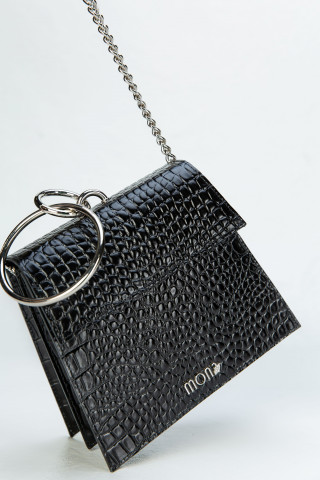 Elegant leather bag with ring