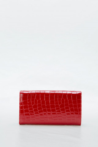 Women's red leather wallet