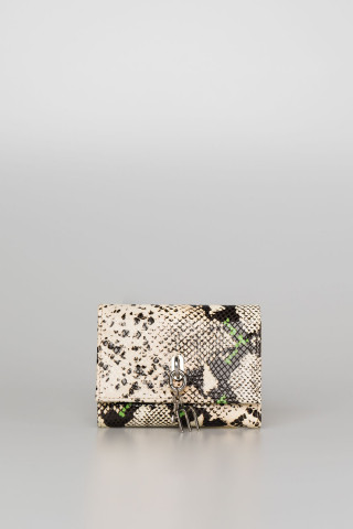 MULTICOLOR SNAKESKIN EFFECT WALLET WITH LOGO CHAIN
