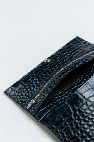 Leather wallet with croc effect