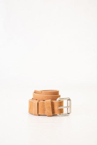 Embossed leather belt in camel shade