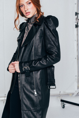Leather Capes with puff sleaves