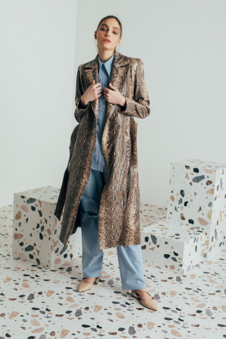 Long print leather trenchcoat