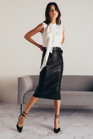 MIDI LEATHER SKIRT WITH BELT
